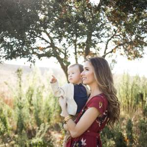 Beautiful photo of mom in burgundy dress and cute little boy - Letter to Augustine on His First Birthday