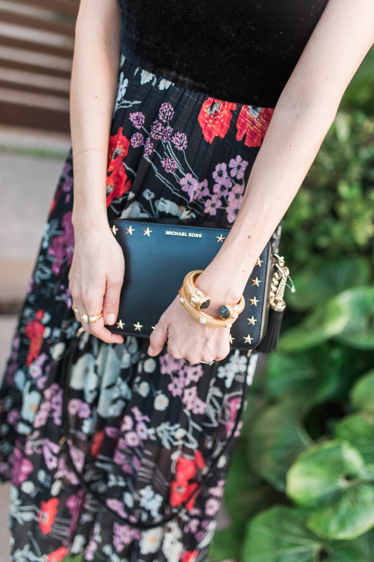 Cute michael kors crossbody with floral skirt
