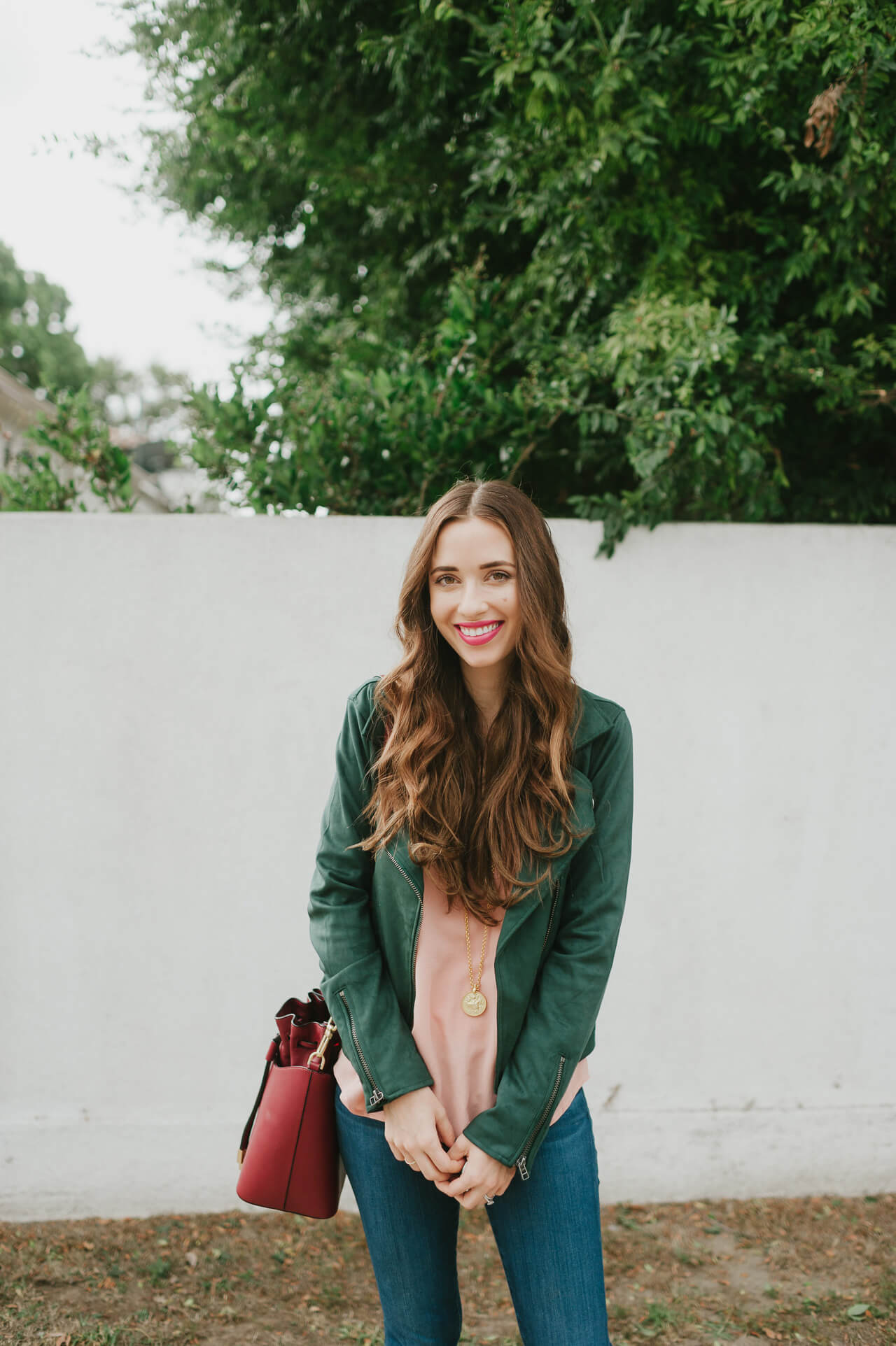 a green and pink outfit combo