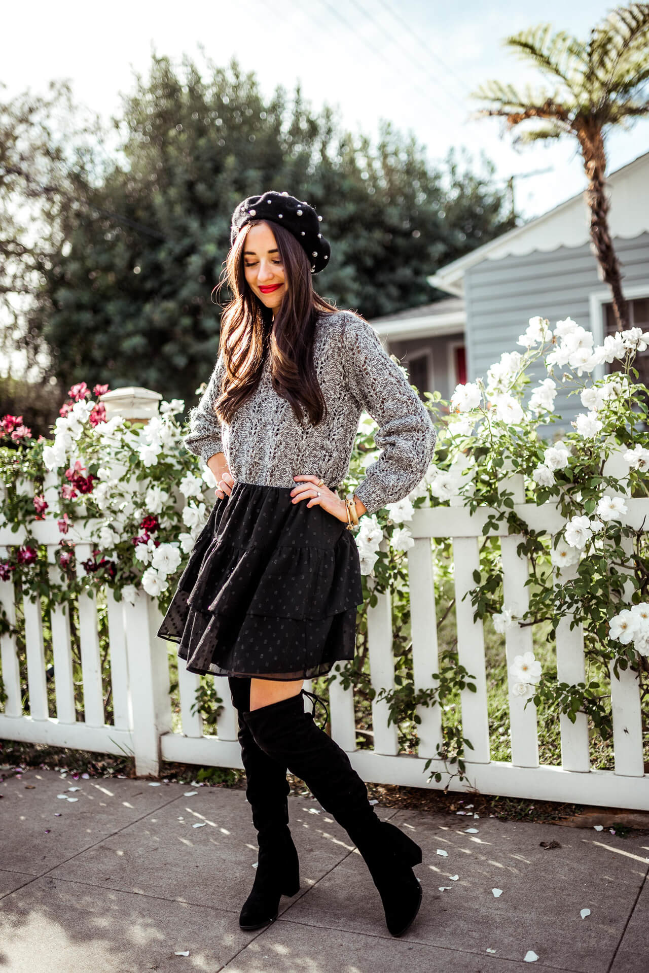 love this skirt and over-the-knee boots together