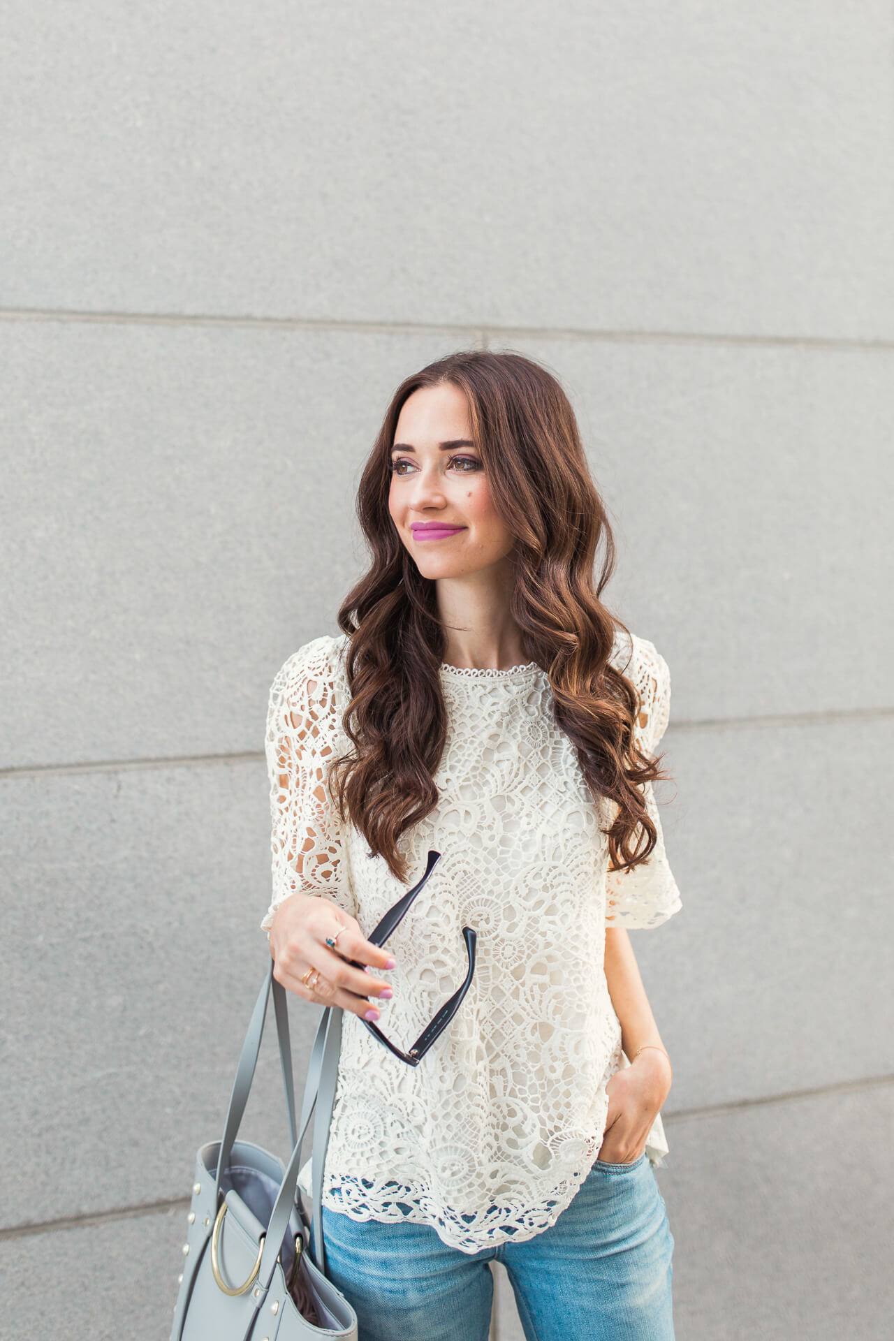 a gorgeous lace top to wear under coats now and on its own for spring - M Loves M @marmar