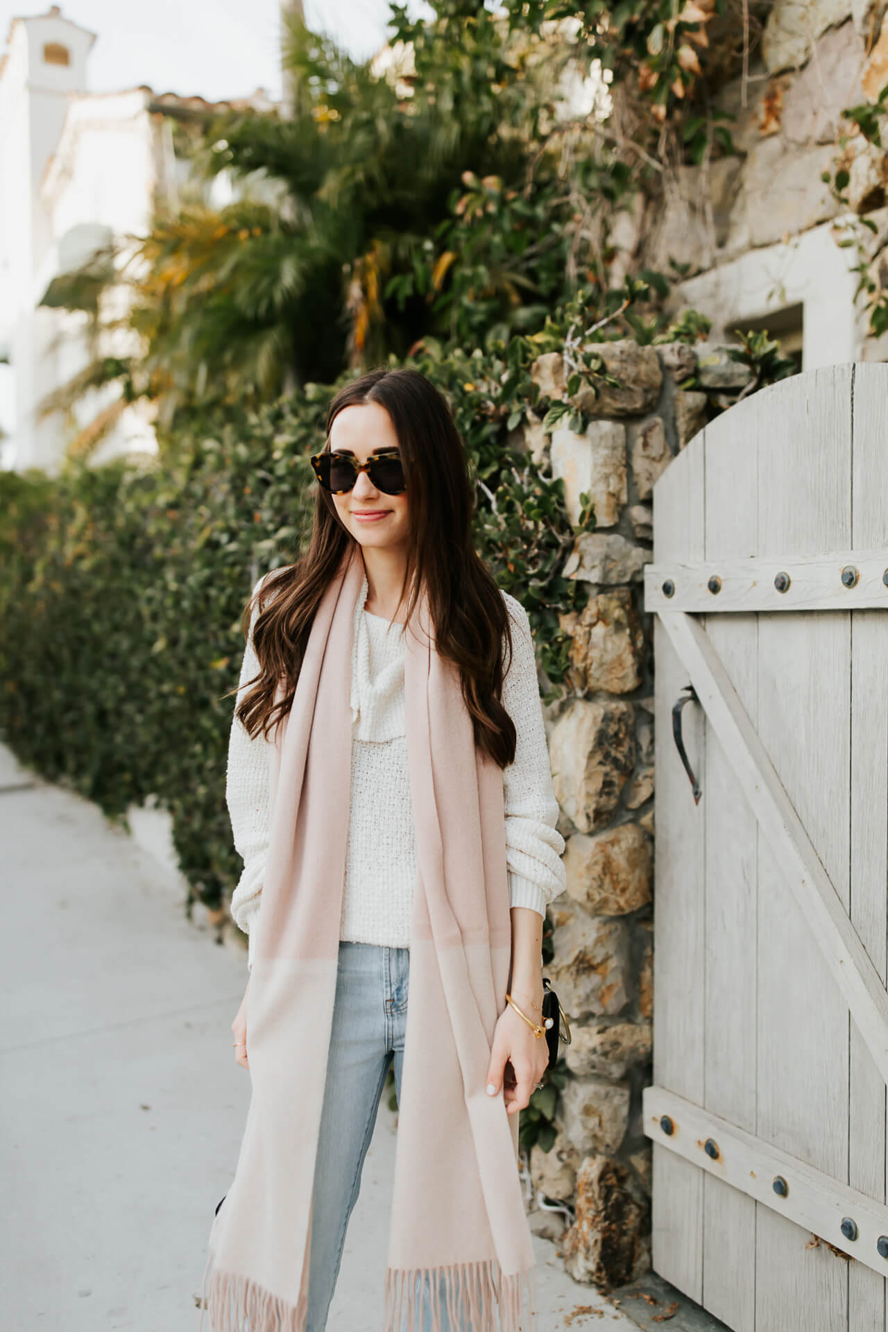 neutral outfit inspiration with cozy free people turtleneck and light wash mom jeans - M Loves M @marmar