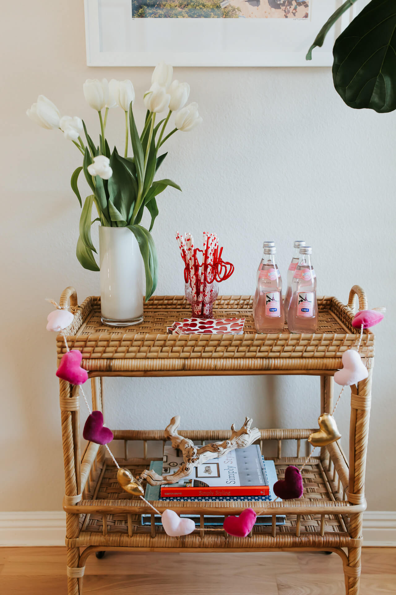 cute ways to decorate your bar cart for Valentine's Day