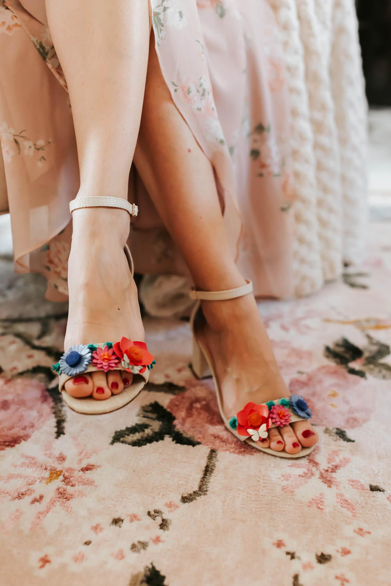 floral Kate Spade Wendy Sandal heels on Gal Meets Glam Floral rug - M Loves M @marmar