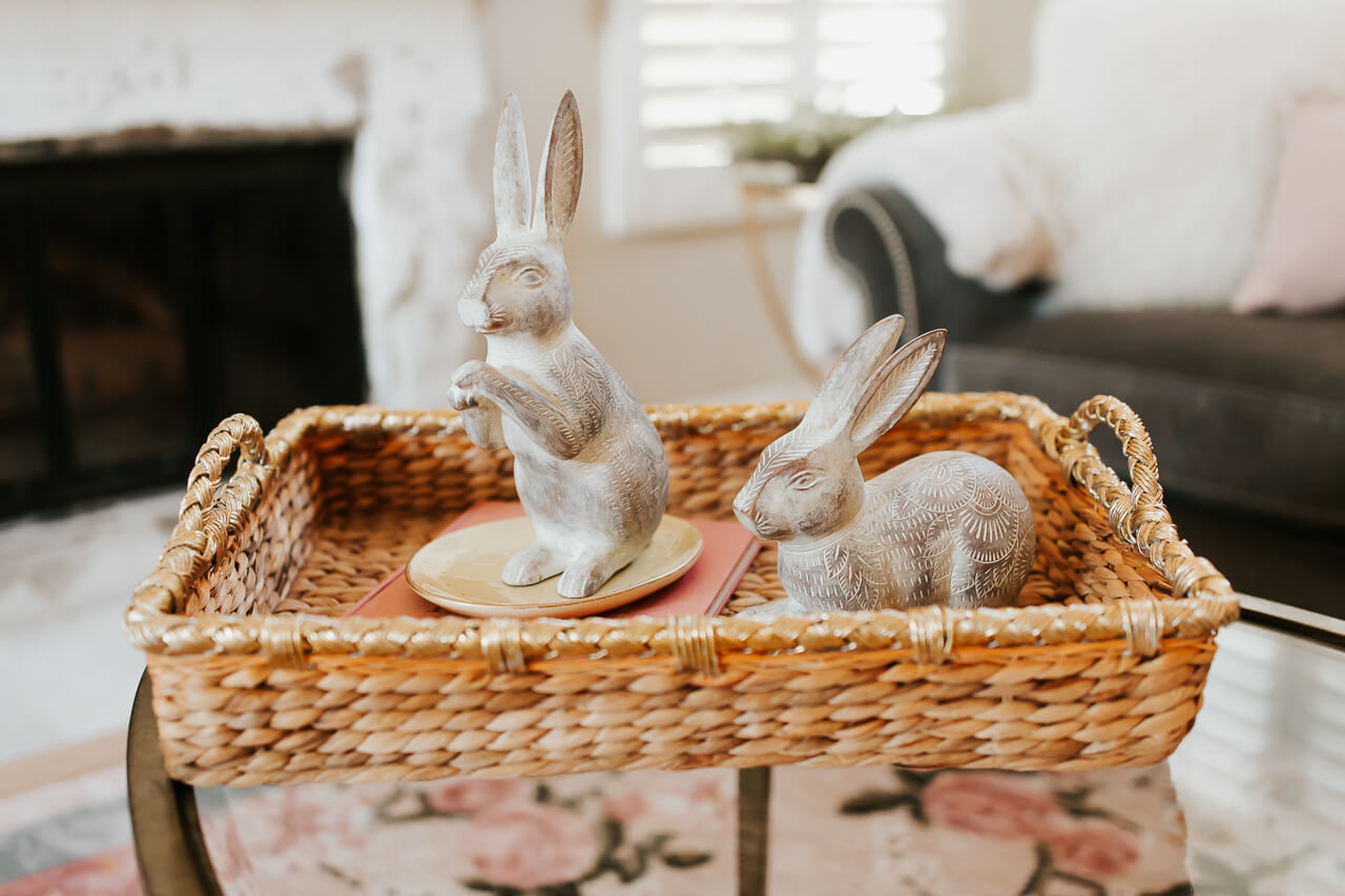 cute carved bunnies on coffee table