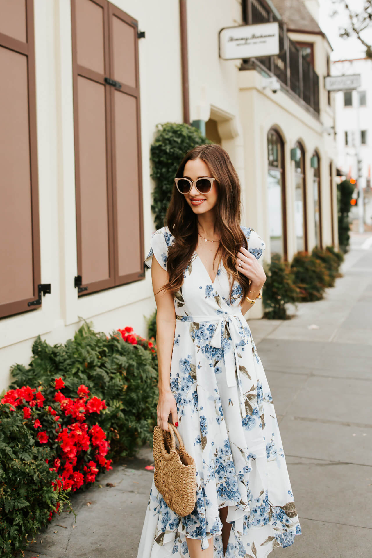 the most gorgeous blue and white floral wrap dress for spring