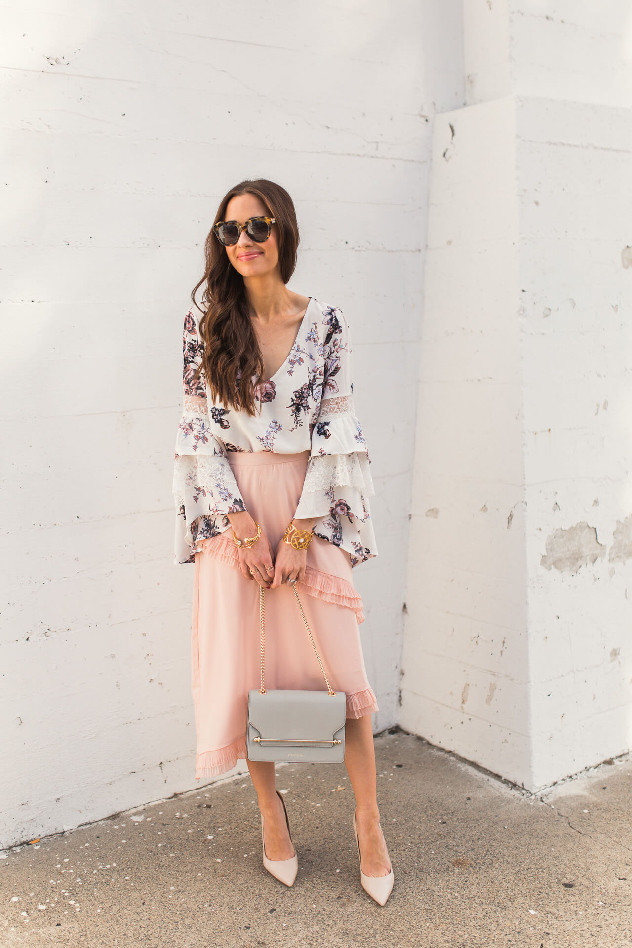 a feminine and girly outfit for spring