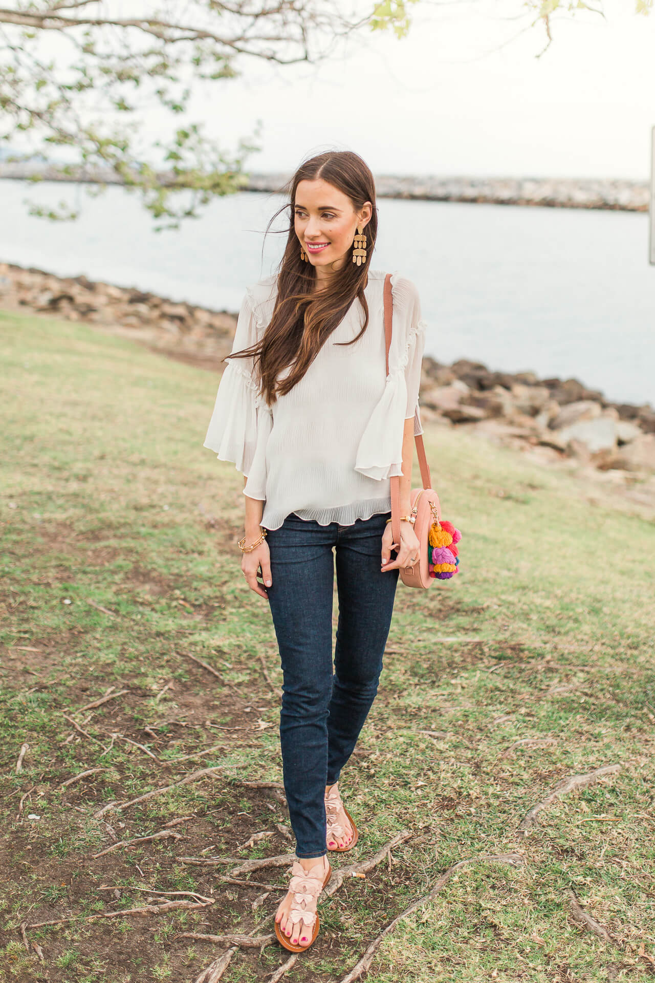 casual spring outfit inspiration with a pretty top to wear for work or play