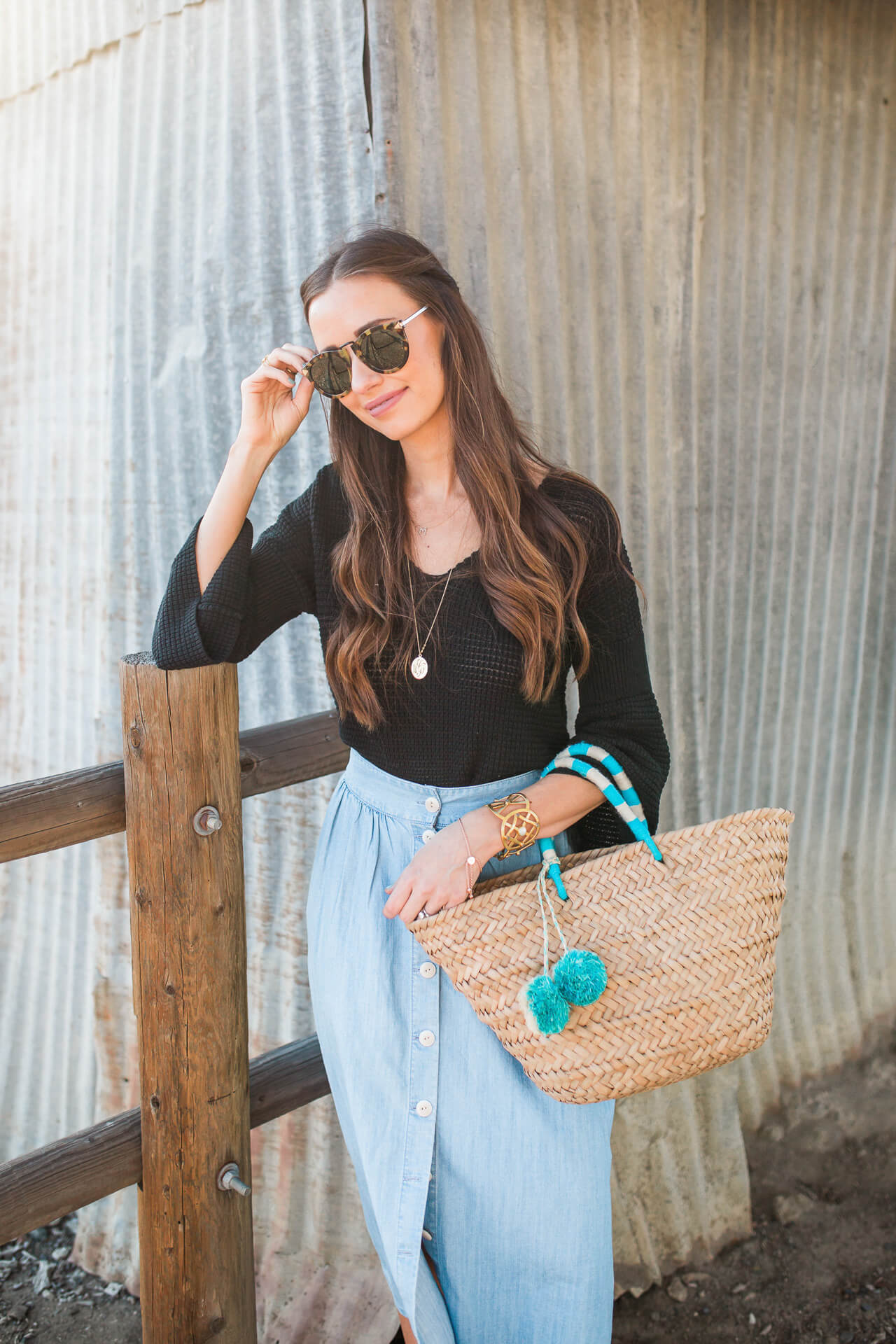 styling a cute black sweater with a chambray blue skirt - M Loves M @marmar