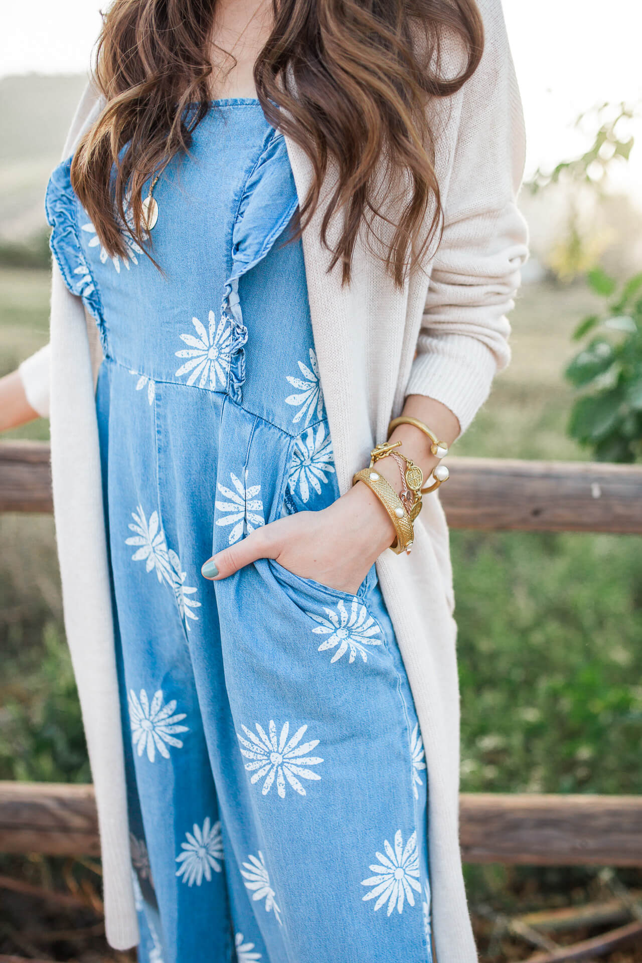 such a cute and unique chambray jumpsuit