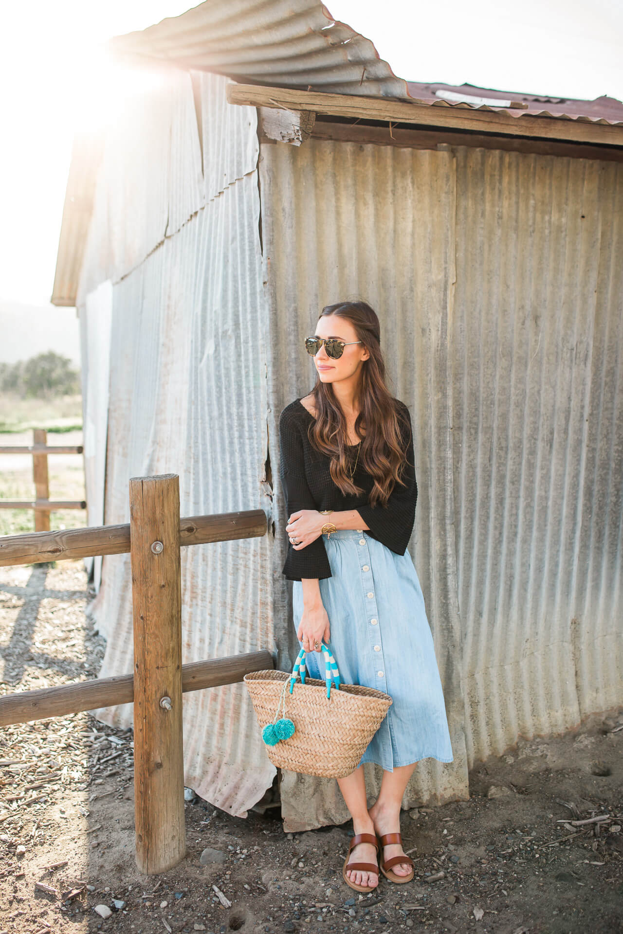 a cute way to wear a chambray skirt for spring - M Loves M @marmar