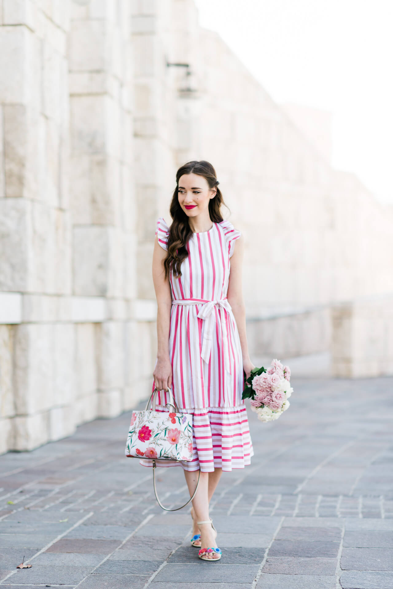 the prettiest pink striped dress from Kate Spade's Spring 2018 collection on fashion and lifestyle blogger M Loves M @marmar