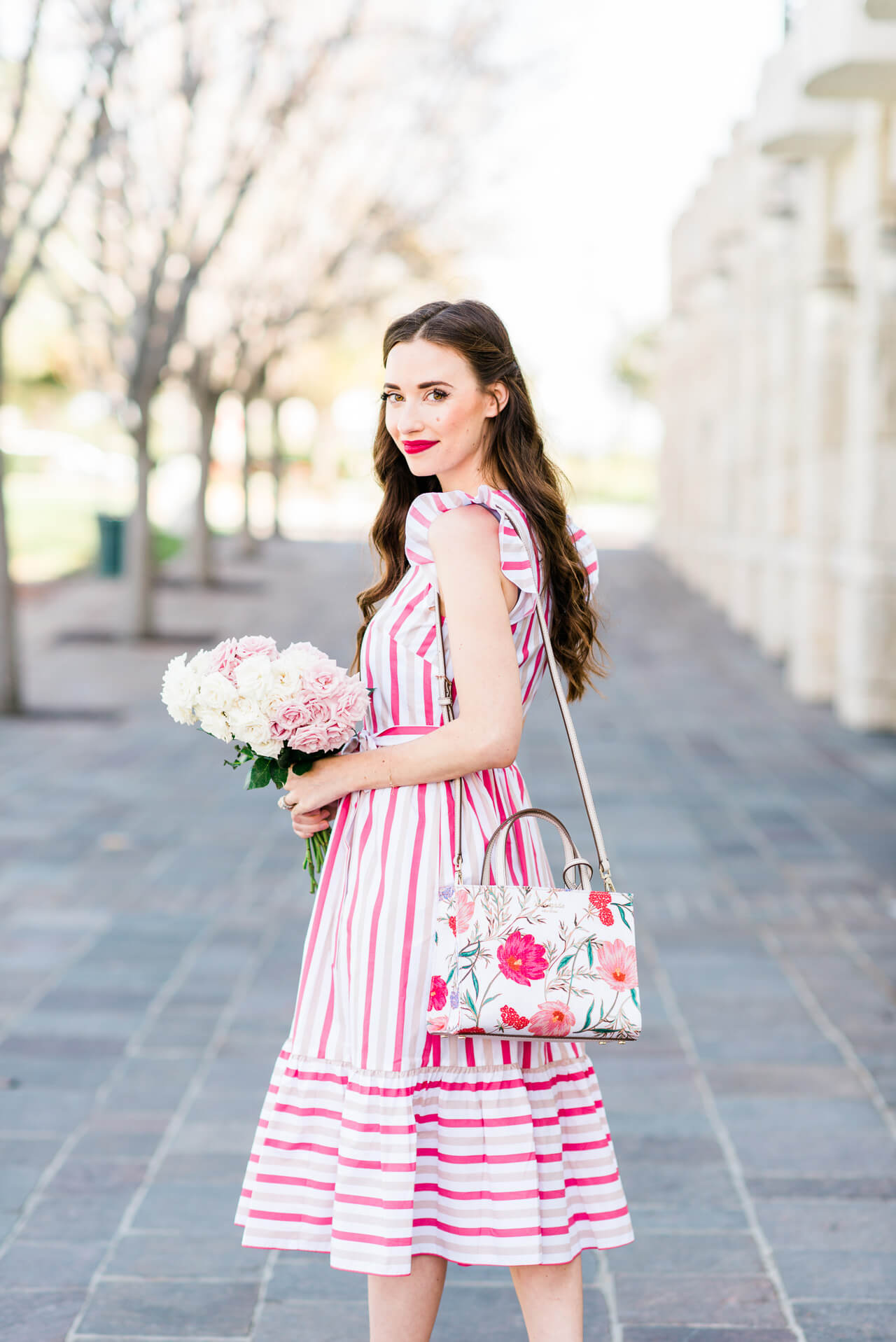 pink and white striped dress with a floral bag - such cute outfit inspiration for spring! M Loves M Orange County Fashion and Lifestyle Blogger @marmar