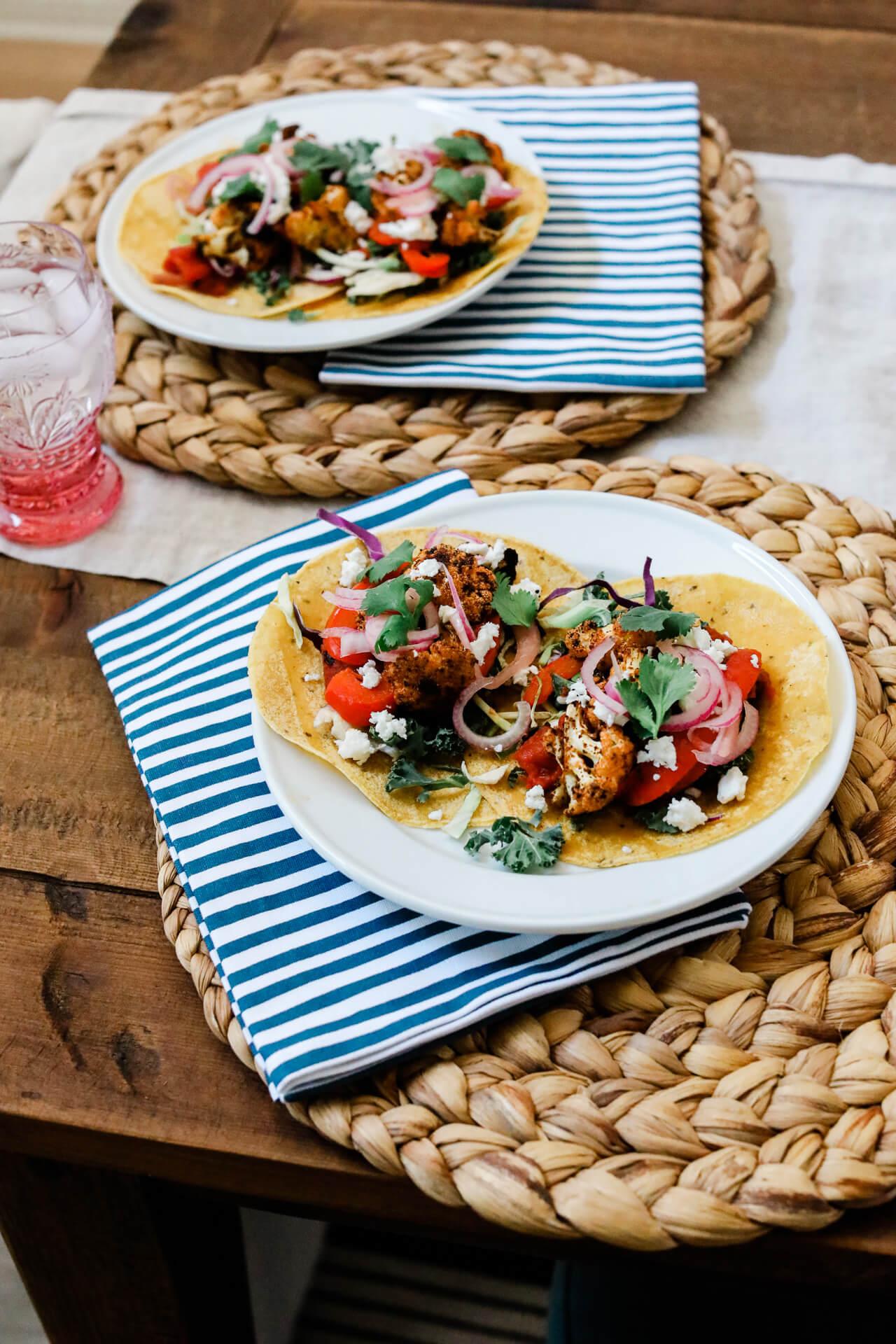 Recipe: Vegetarian Roasted Cauliflower and Fajita Veggie Tacos - M Loves M