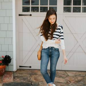 What is your go-to casual weekend style outfit? I can't go wrong with jeans, a nautical sweater, and cute sneakers! | M Loves M @marmar