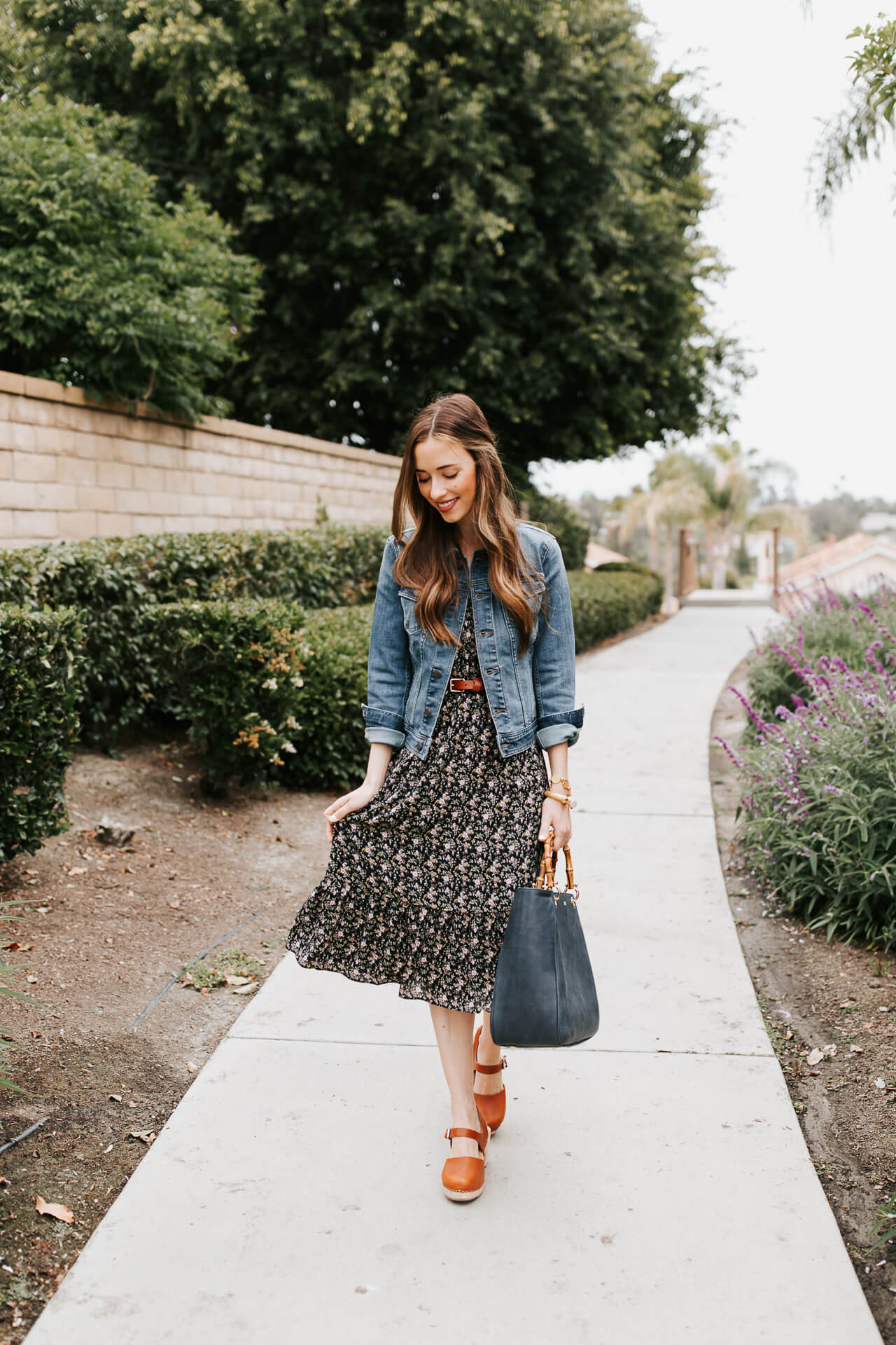 I love a feminine dress paired with a denim jacket! | M Loves M @marmar