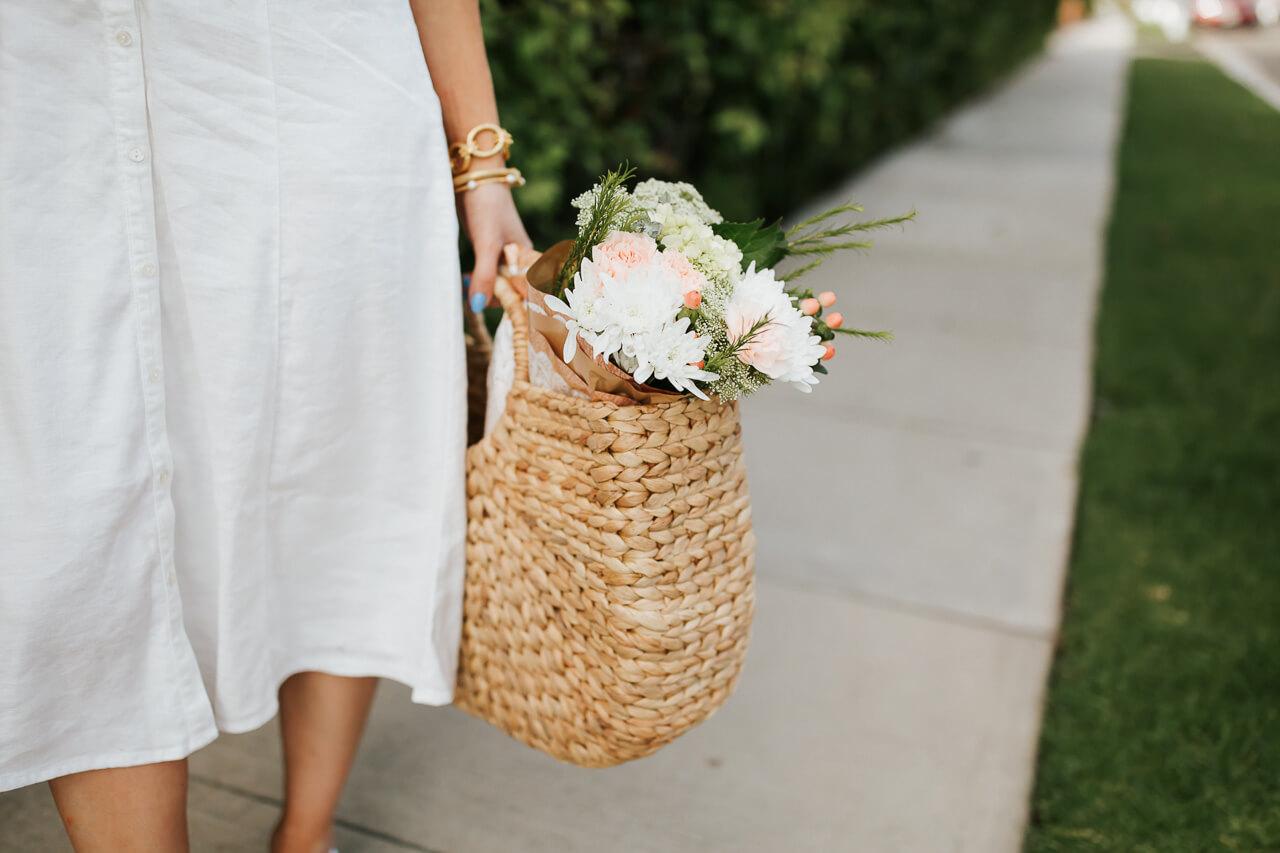 I love a pretty straw handbag in the summer. | M Loves M @marmar