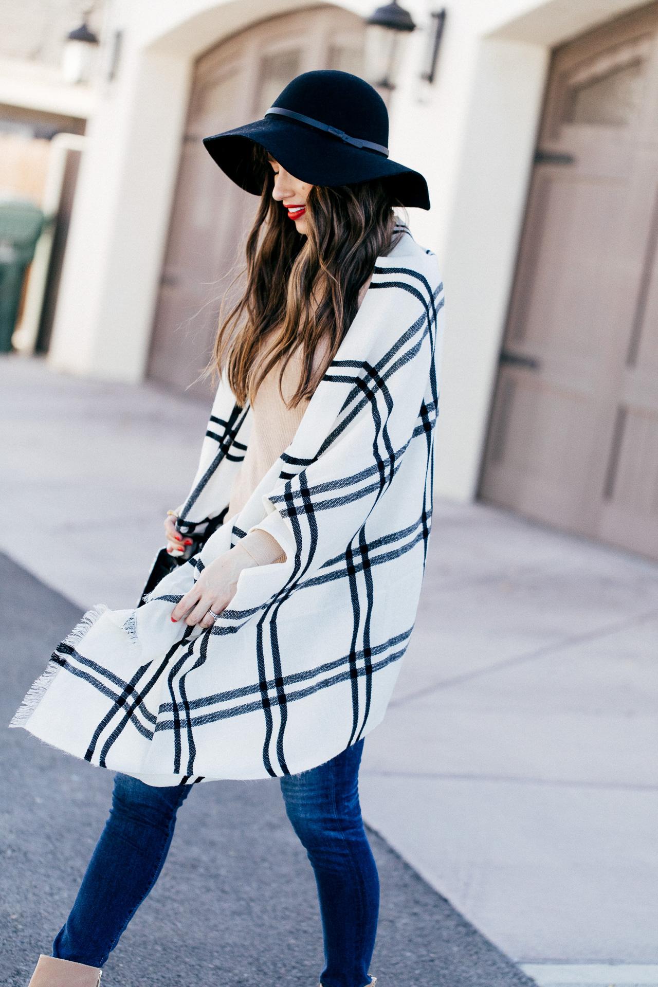 I love this J.Crew black and white plaid poncho. | M Loves M @marmar
