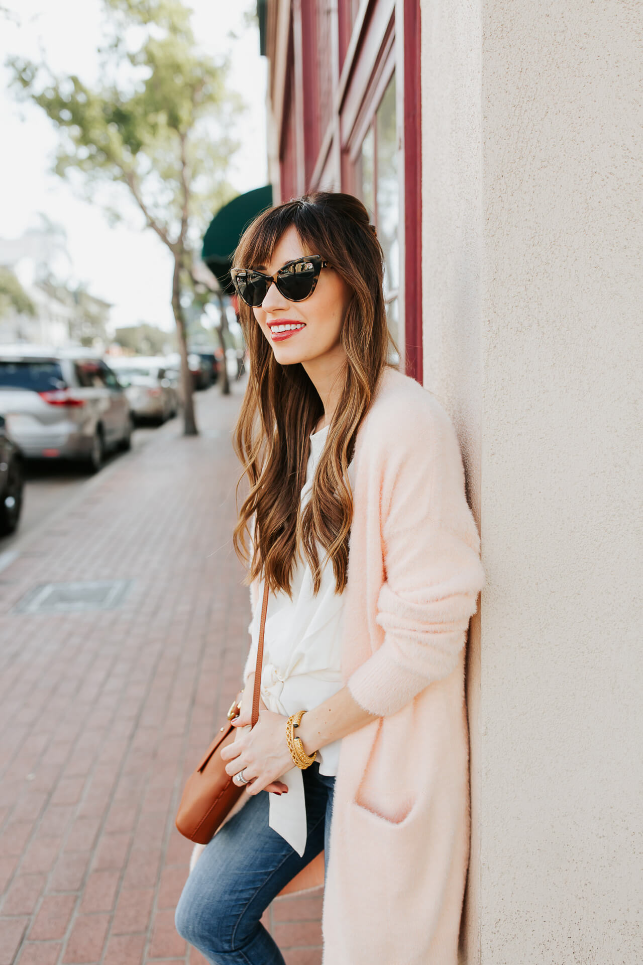 I love this long millennial pink cardigan! - M Loves M @marmar