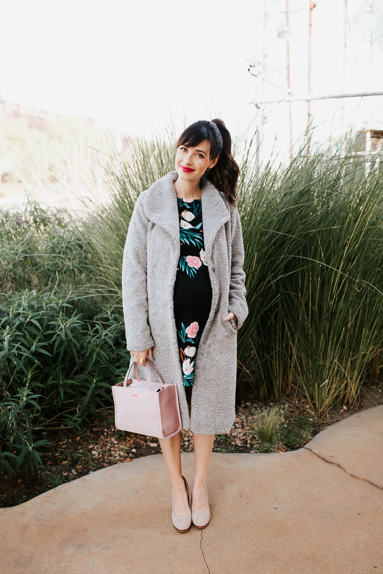 I love wearing winter florals! Especially this pretty floral dress! - M Loves M @marmar