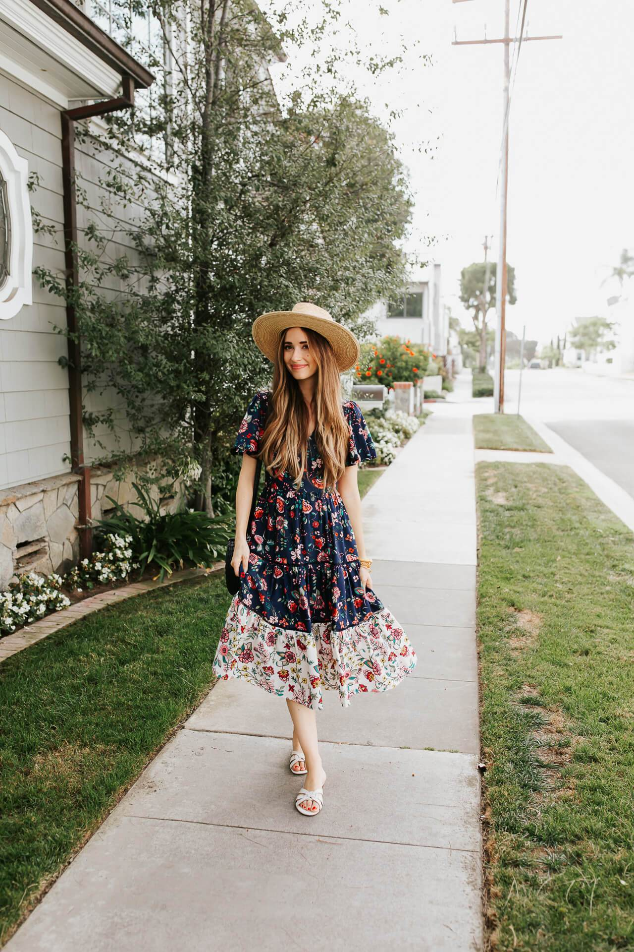 Transition into spring style with a floral midi dress! - M Loves M @marmar