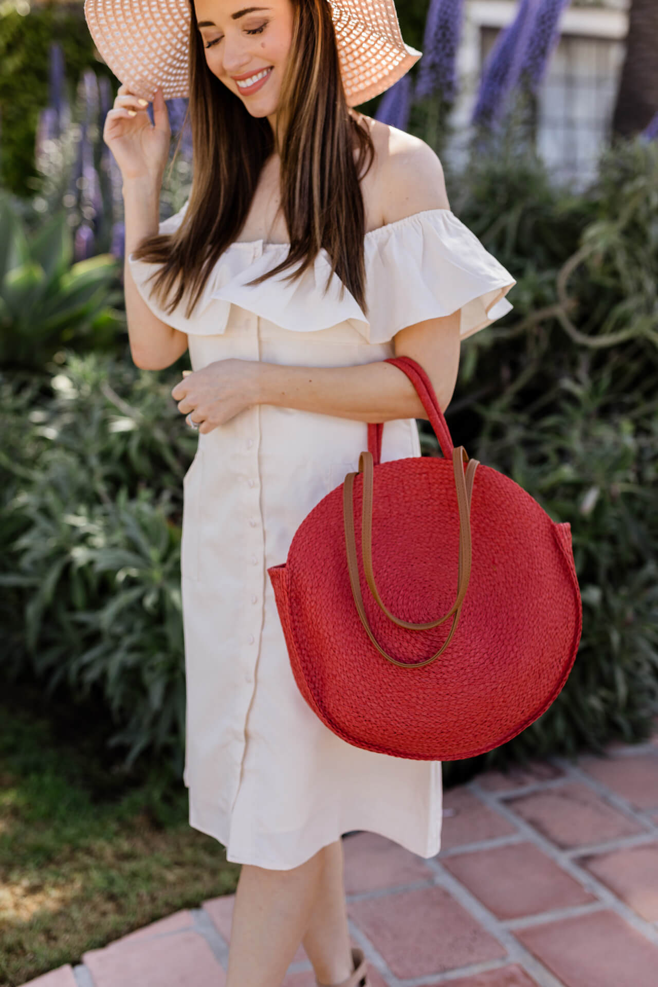 A red straw tote bag from Walmart! - M Loves M @marmar
