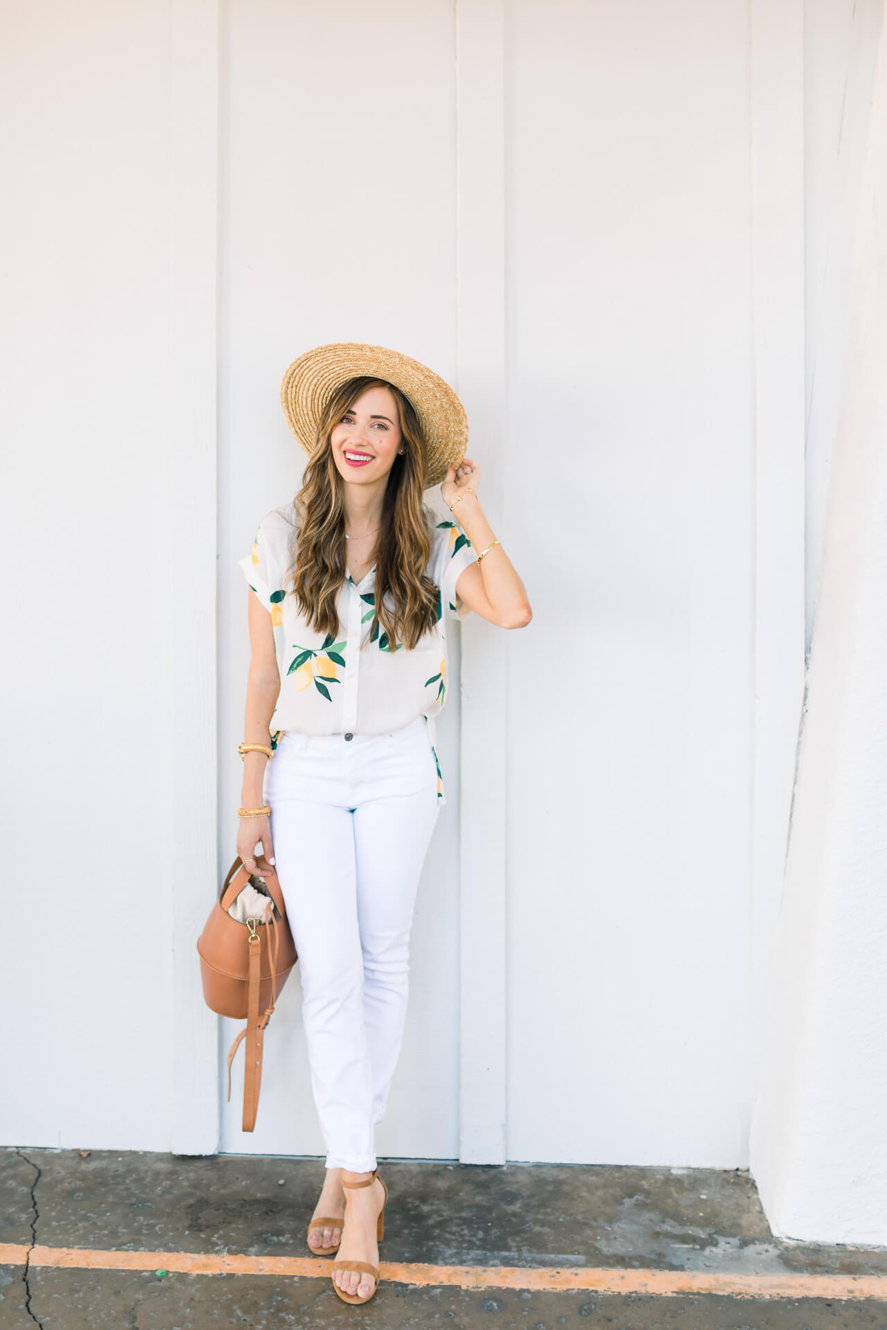 a cute and stylish white jean outfit for spring and summer - M Loves M Los Angeles and Orange County fashion and lifestyle blogger @marmar