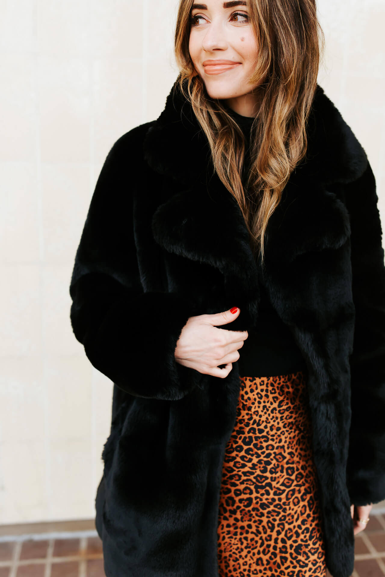 A glam winter outfit with a leopard print skirt and faux fur coat! - M Loves M @marmar