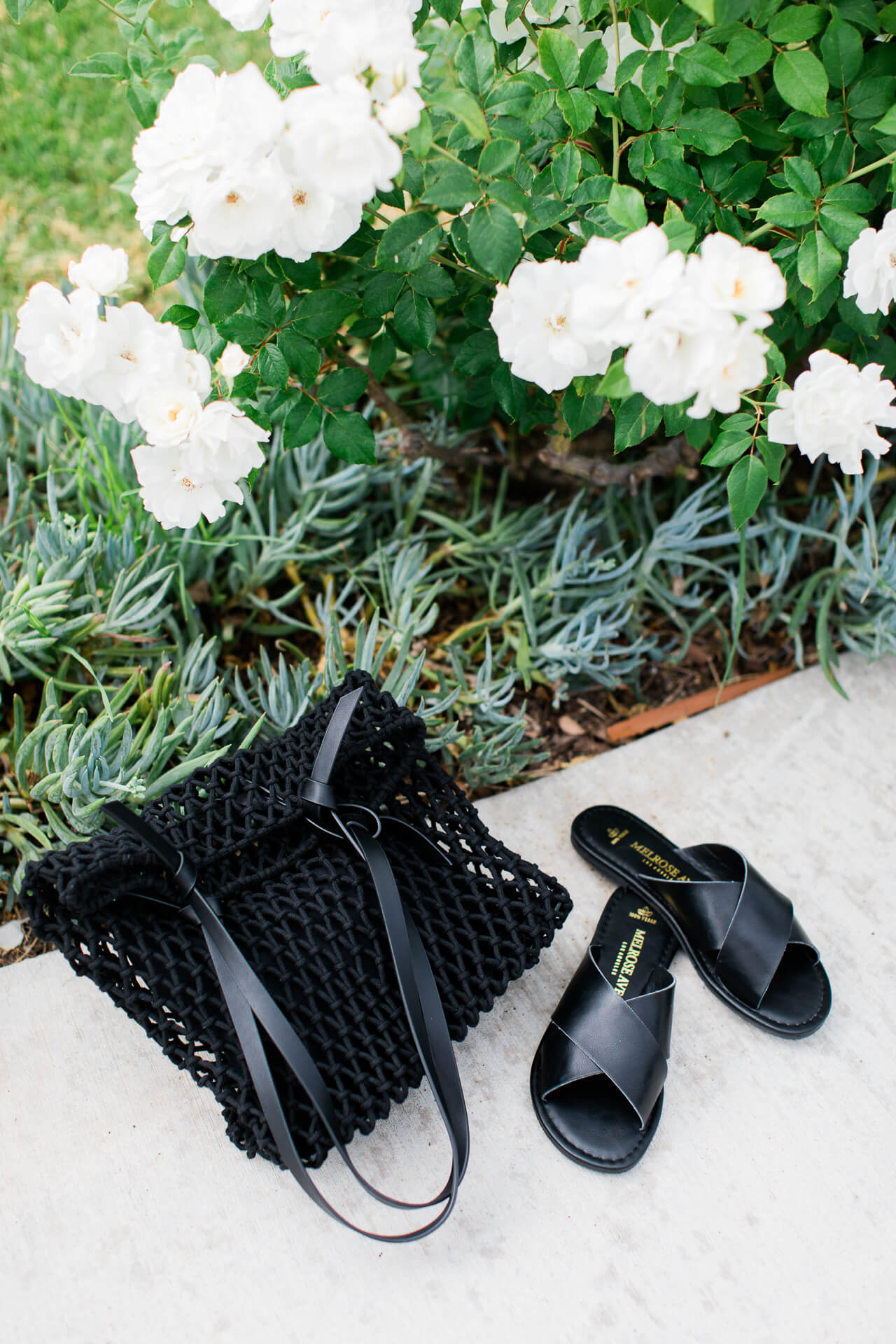Pretty slide sandals and black netted bag for fall! - M Loves M @marmar
