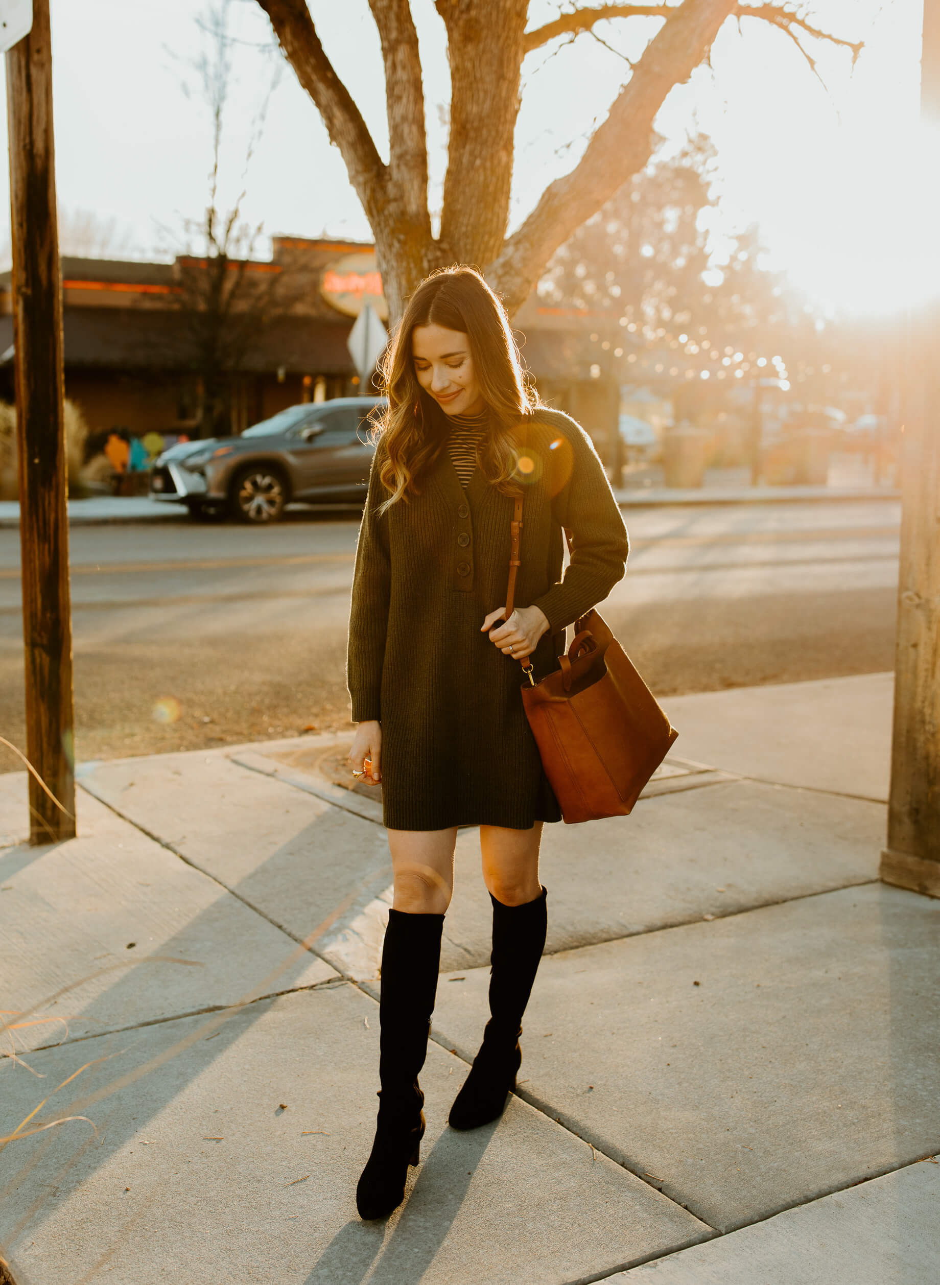 green Madewell sweater dress with sarah flint over the knee boots - M Loves M @marmar