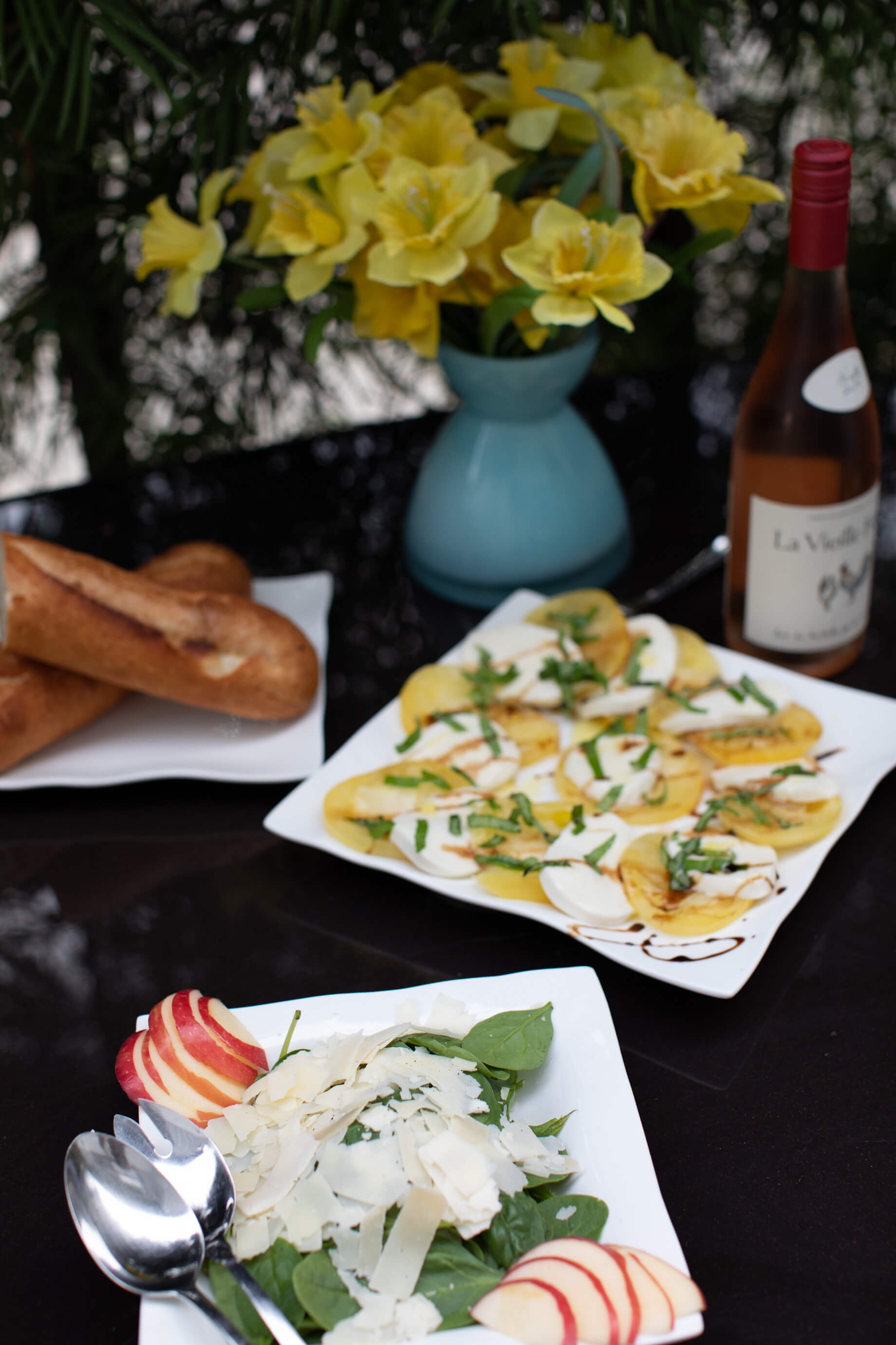 caprese salad, spinach salad with parmesan and apple, and baguette- M Loves M @marmar