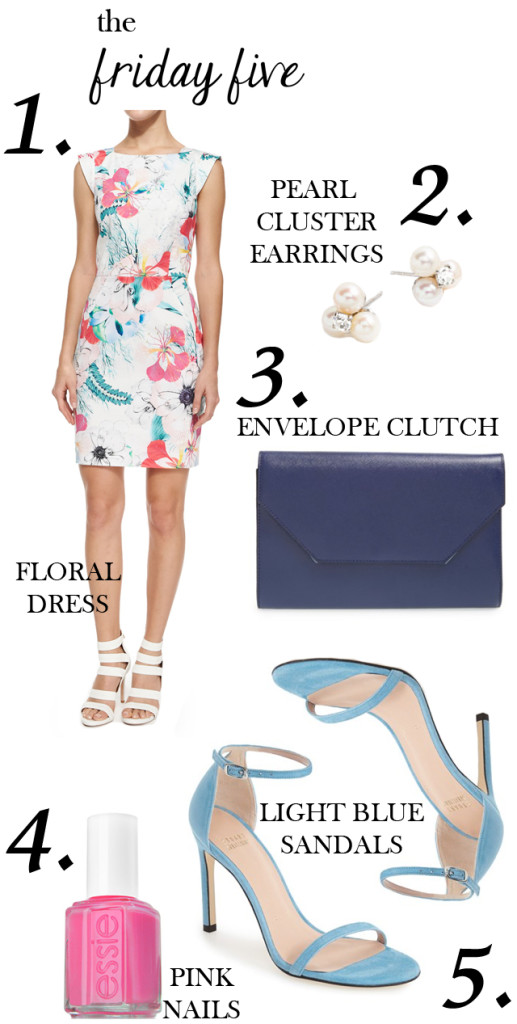 the friday five with floral dress, pearl earrings, clutch envelope, stuart weitzman light blue sandals and essie pink nail polish M Loves M @marmar