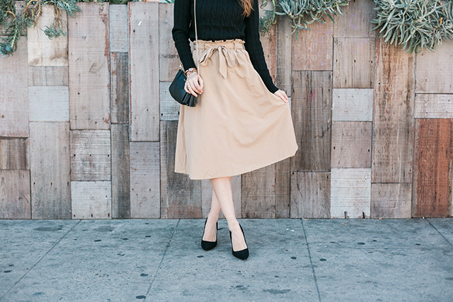 beige waist tie skirt with black suede kate spade licorice too heels M Loves M