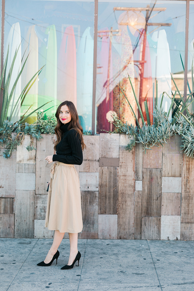 black turtleneck with beige skirt M Loves M