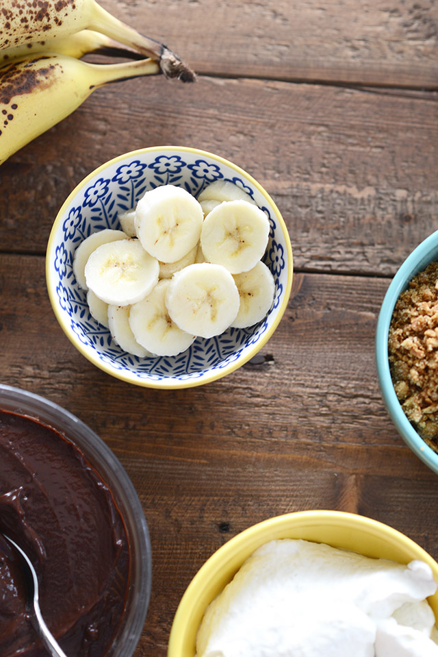 ingredients for banana and chocolate cream pie parfaits M Loves M