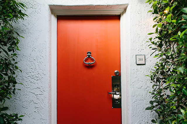 orange doors at Avalon Hotel Palm Springs M Loves M