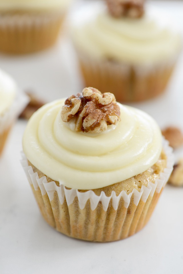 The best cupcakes to make on a rainy winter day! You'll love these Maple Walnut Cupcakes!