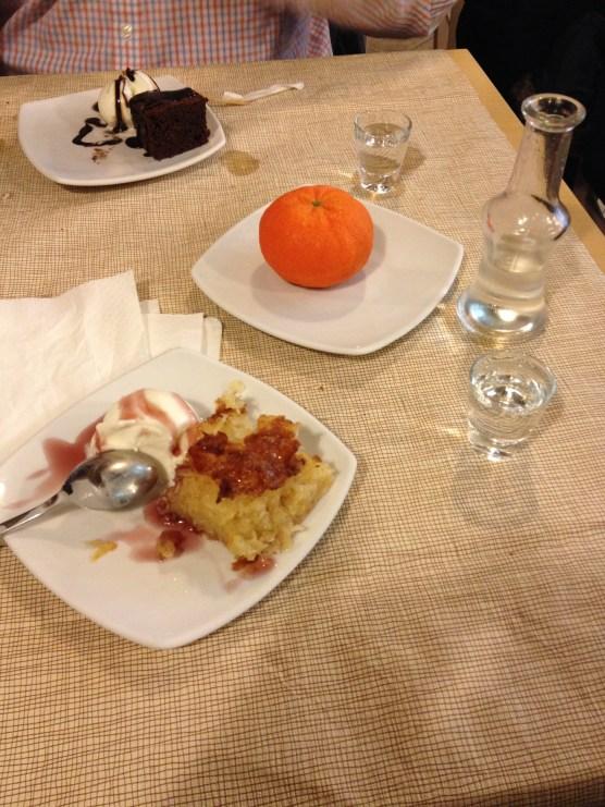 complimentary dessert and raki. a customary finish to cretean meals.