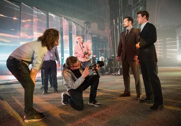 Left to right: Director of Photography Rob Hardy, Director Christopher McQuarrie, Henry Cavill and Tom Cruise on the set of MISSION: IMPOSSIBLE - FALLOUT, from Paramount Pictures and Skydance.