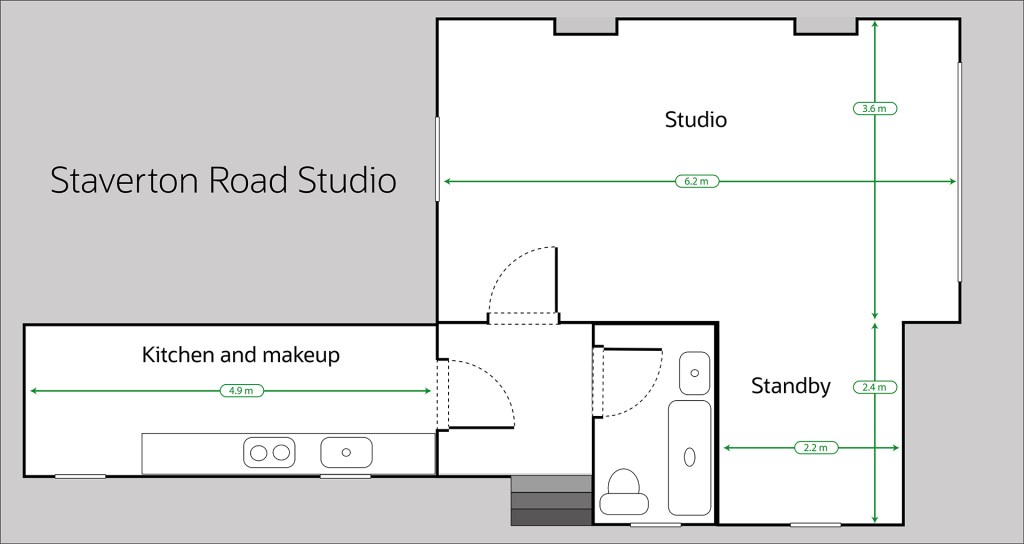 Measurements of photography studio in West London