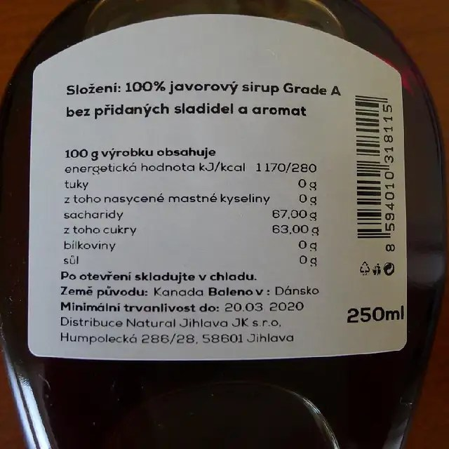 Javorový sirup 250ml