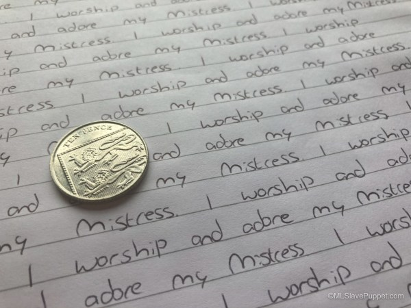 Task 7: Write lines while balancing a coin