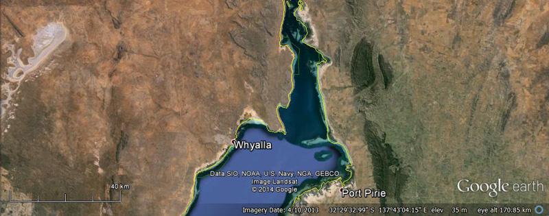 Upper Spencer Gulf - Google Earth