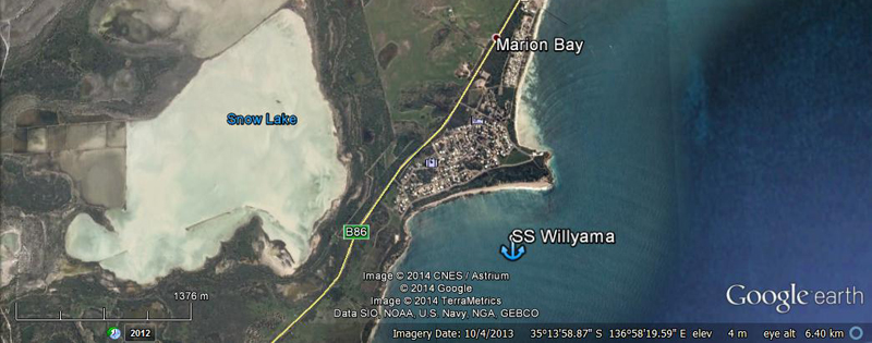 Map of Marion Bay & SS Willyama wreck - Google Earth 2013