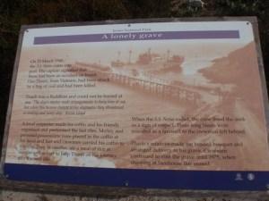 Interpretive sign for sailor's grave