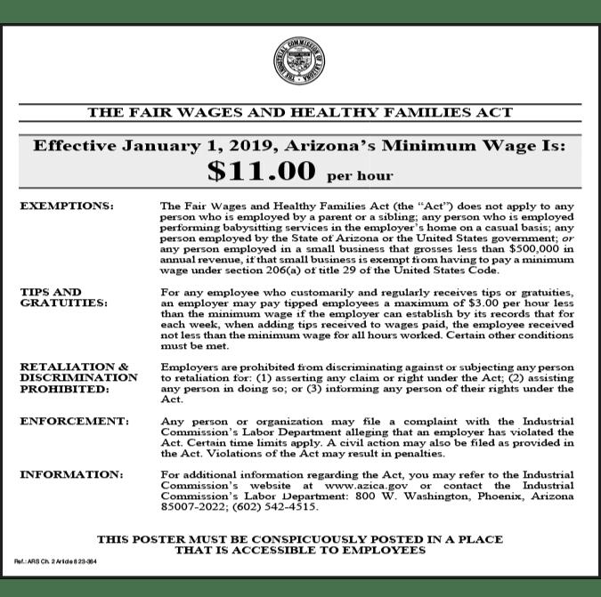 2019 arizona minimum wage