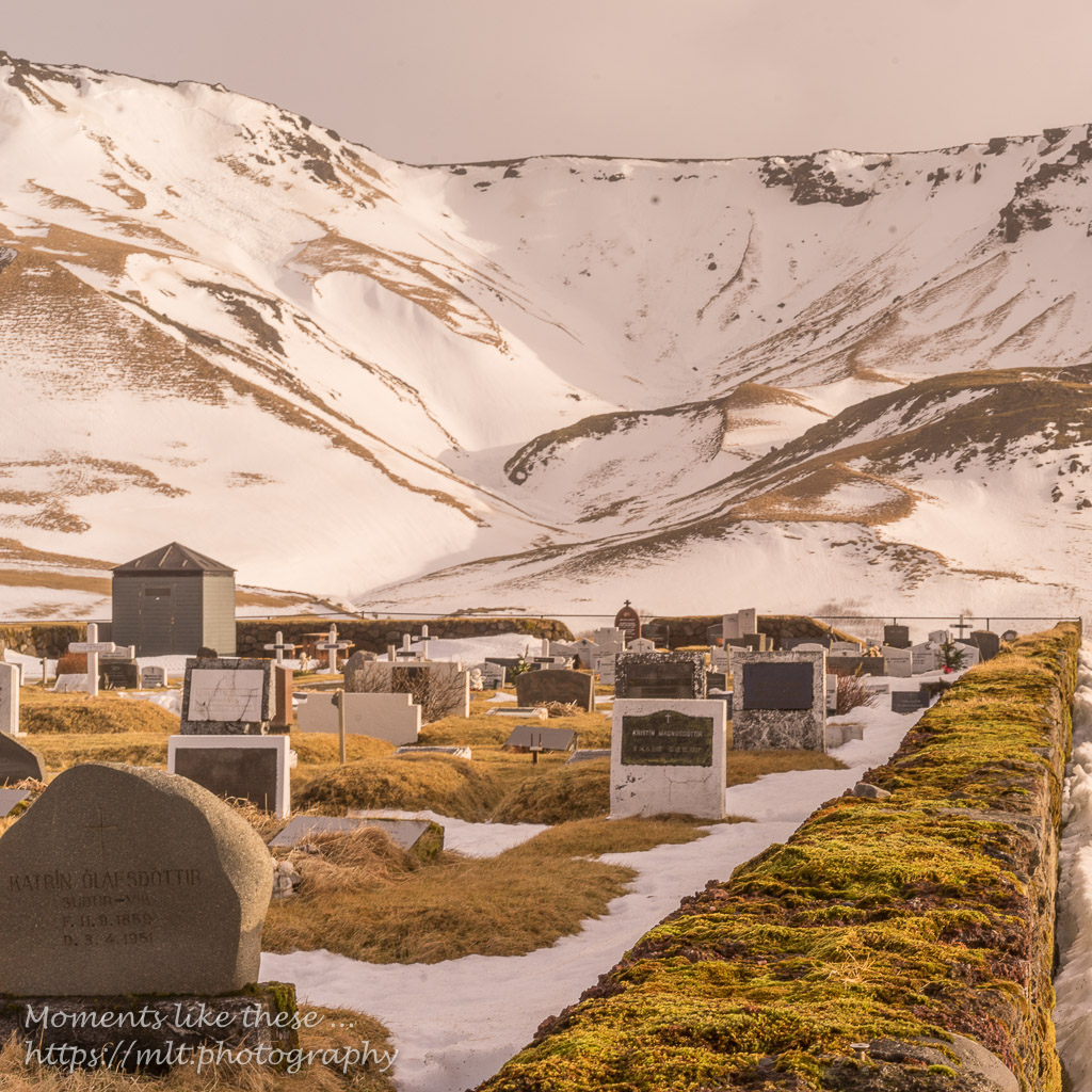 Graveyard above the church at Vik
