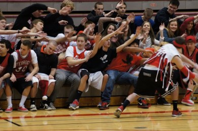 The MTHS Rowdy Rooters bring their spirit to the game.
