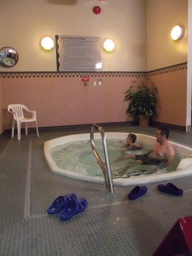 Pavel Nichipor and his son Michael, both of Lynnwood, at the Recreation Pavilion jacuzzi.