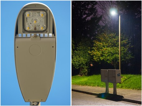 The City of Mountlake Terrace is installing new LED street lights, and Mark Hopkins took a photo of the one on his street -- during the day, left, and at night.